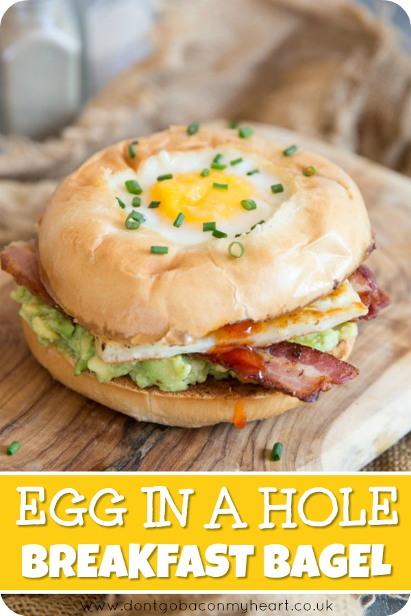 This Egg in a Hole Breakfast Bagel ain't just a pretty face, it's absolutely delicious! Better still it's so incredibly easy to make! #bagel #breakfast #brunch #egg | www.dontgobaconmyheart.co.uk