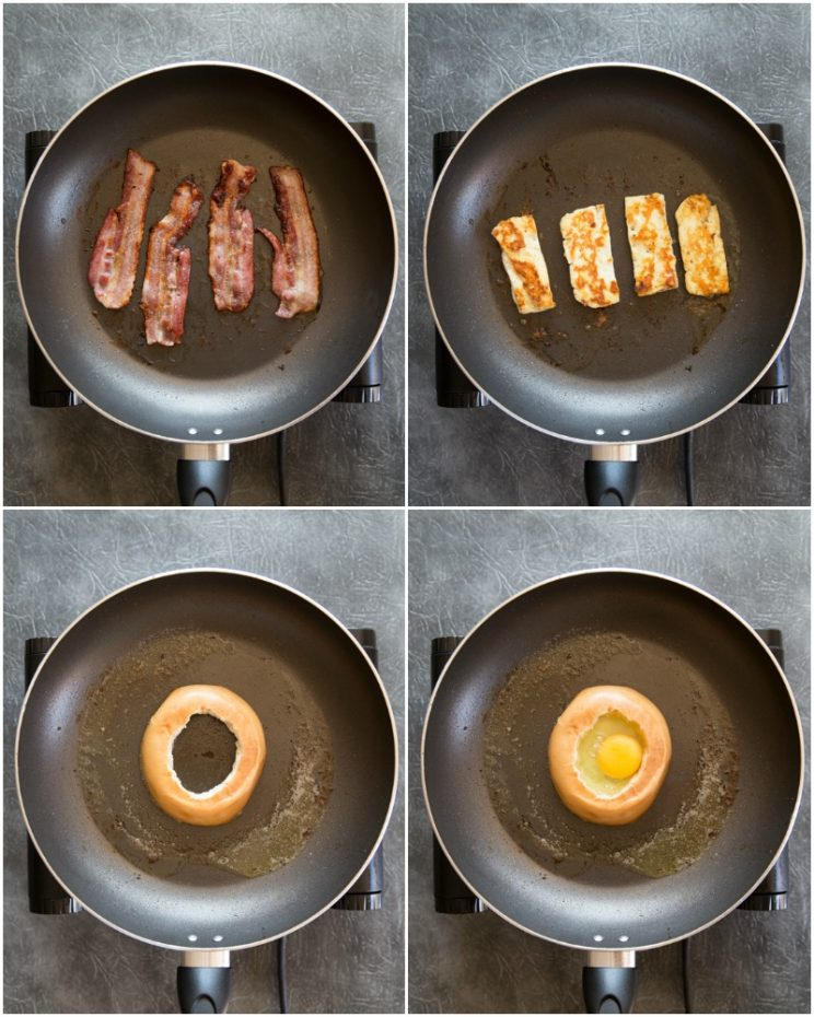how to make an egg in a hole breakfast bagel step by step