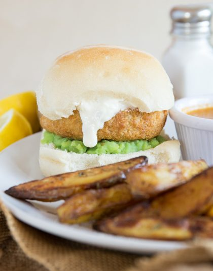 Fish Cake Burger with homemade chips and curry sauce