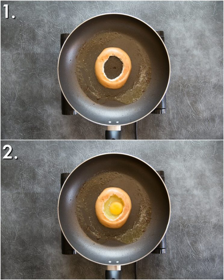 How to make egg in a hole bagel - 2 step by step photos