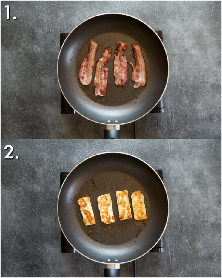 Pan fried bacon and halloumi - 2 step by step photos