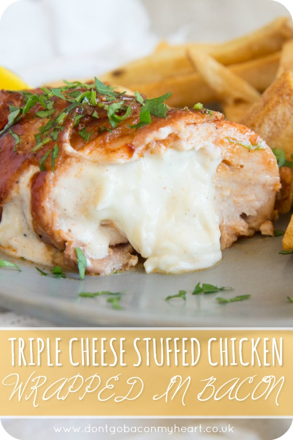 Triple Cheese Stuffed Chicken Wrapped in Bacon is the ultimate chicken dinner. Baked in a BBQ glaze, this stuffed chicken recipe couldn't be more of a treat if it tried! #chicken #bbq #bacon #cheese | www.dontgobaconmyheart.co.uk