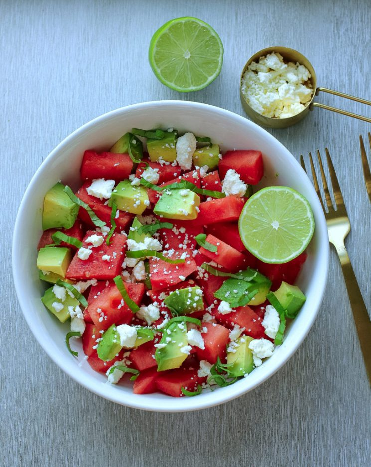 Watermelon Salad Recipes - Watermelon and Feta Salad with Avocado