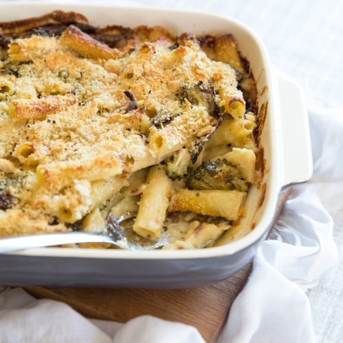 Broccoli Pasta Bake with serving spoon