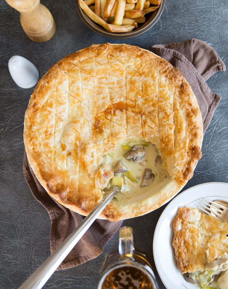 Creamy Chicken Leek and Mushroom Pie fresh out the oven