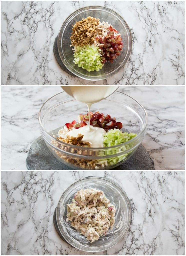How to make Chicken Waldorf Salad Bites on Apple Slices - step by step