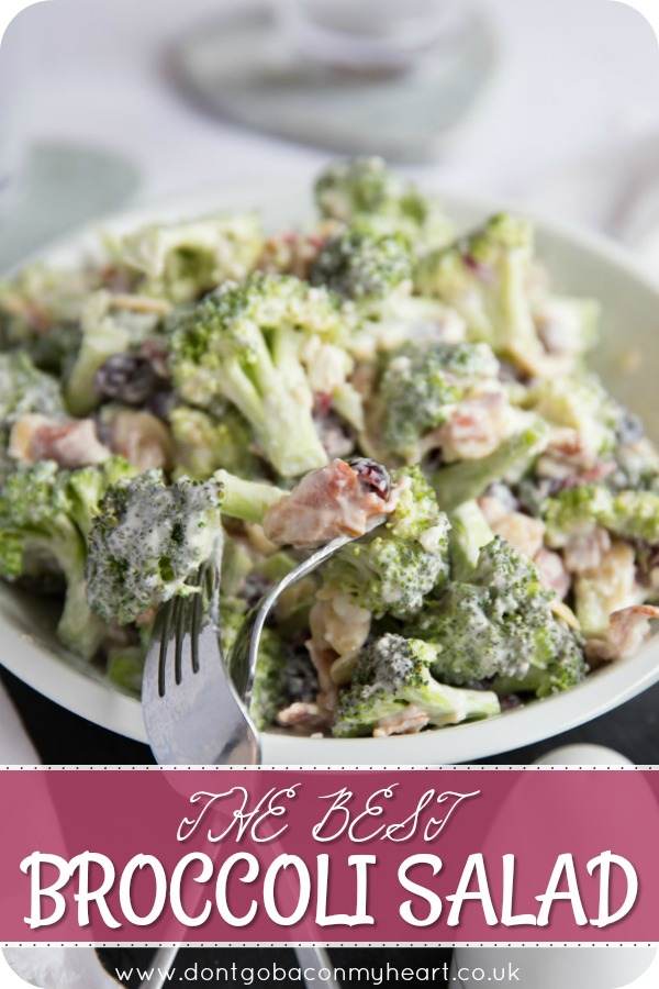 Get ready to fall in love with this Crunchy Broccoli Salad with Bacon! Featuring Cranberries, Flaked Almonds & Feta, this really is simply the BEST Broccoli Salad Recipe! #broccoli #salad #bacon | www.dontgobaconmyheart.co.uk