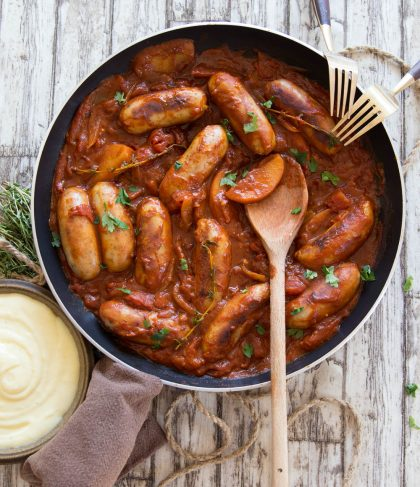 One pan Devilled Sausages