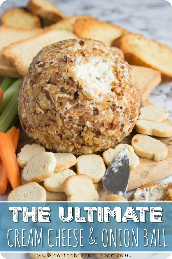 Looking for an easy cheese ball recipe? Look no further than the Ultimate Cream Cheese and Onion Ball! Stuffed with caramelized onions and coated in crispy fried onions, this cheese and onion ball is sure to get the party started! #cheese #cheeseball #appetizer | www.dontgobaconmyheart.co.uk