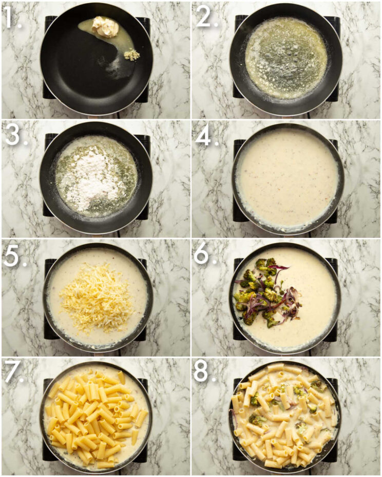 8 step by step photos showing how to make cheesy broccoli pasta