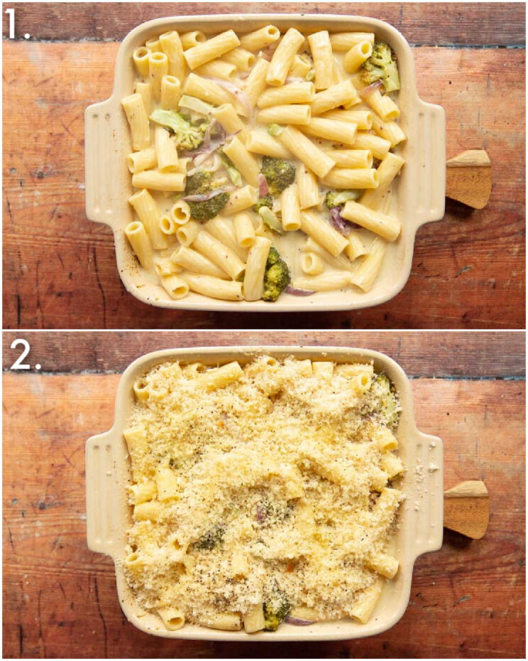 2 step by step photos showing how to make broccoli pasta bake