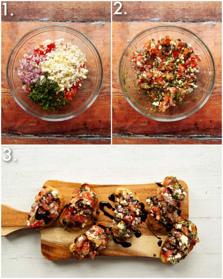 3 step by step photos showing how to make feta bruschetta