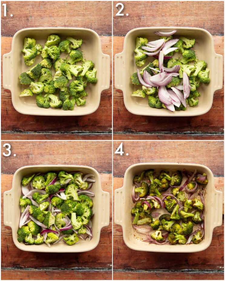4 step by step photos showing how to roast broccoli