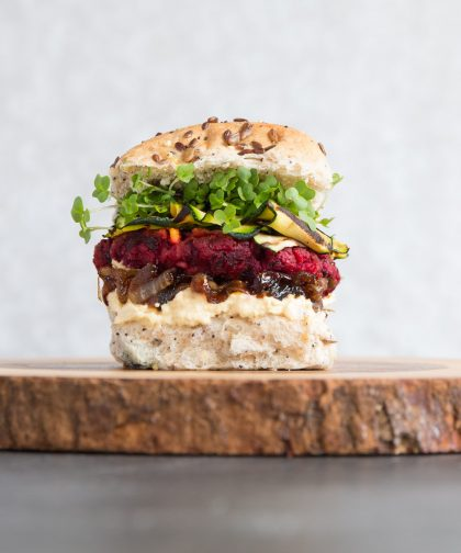 Beetroot Burgers in a bun with fillings