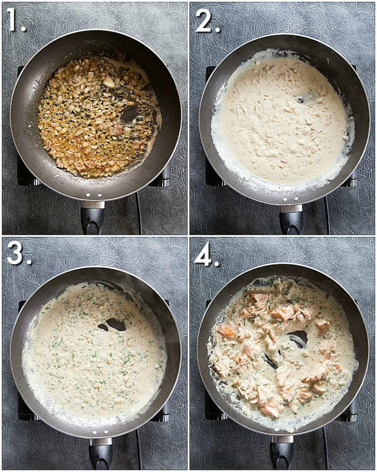 How to make a creamy dill sauce for salmon - step by step photos