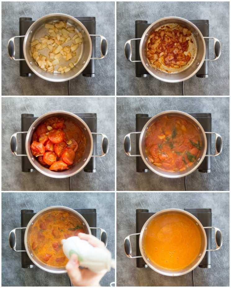 How to make roasted tomato soup with fresh tomatoes and basil - step by step