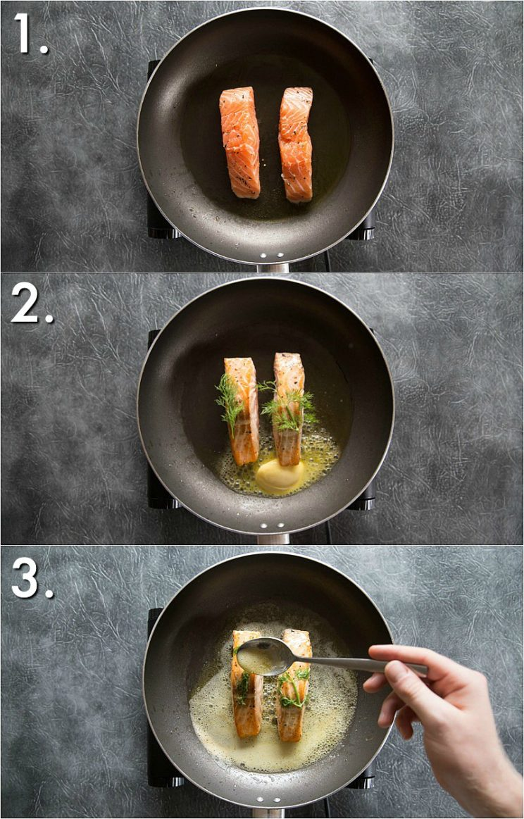 How to pan fry salmon - step by step guidance photos