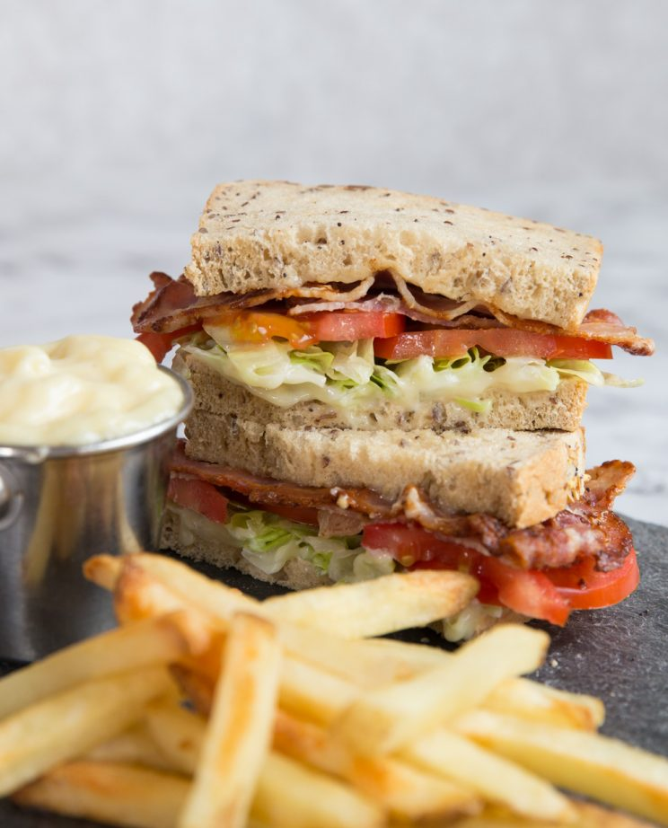 BLT Sandwich with Roasted Garlic Aioli and french fries