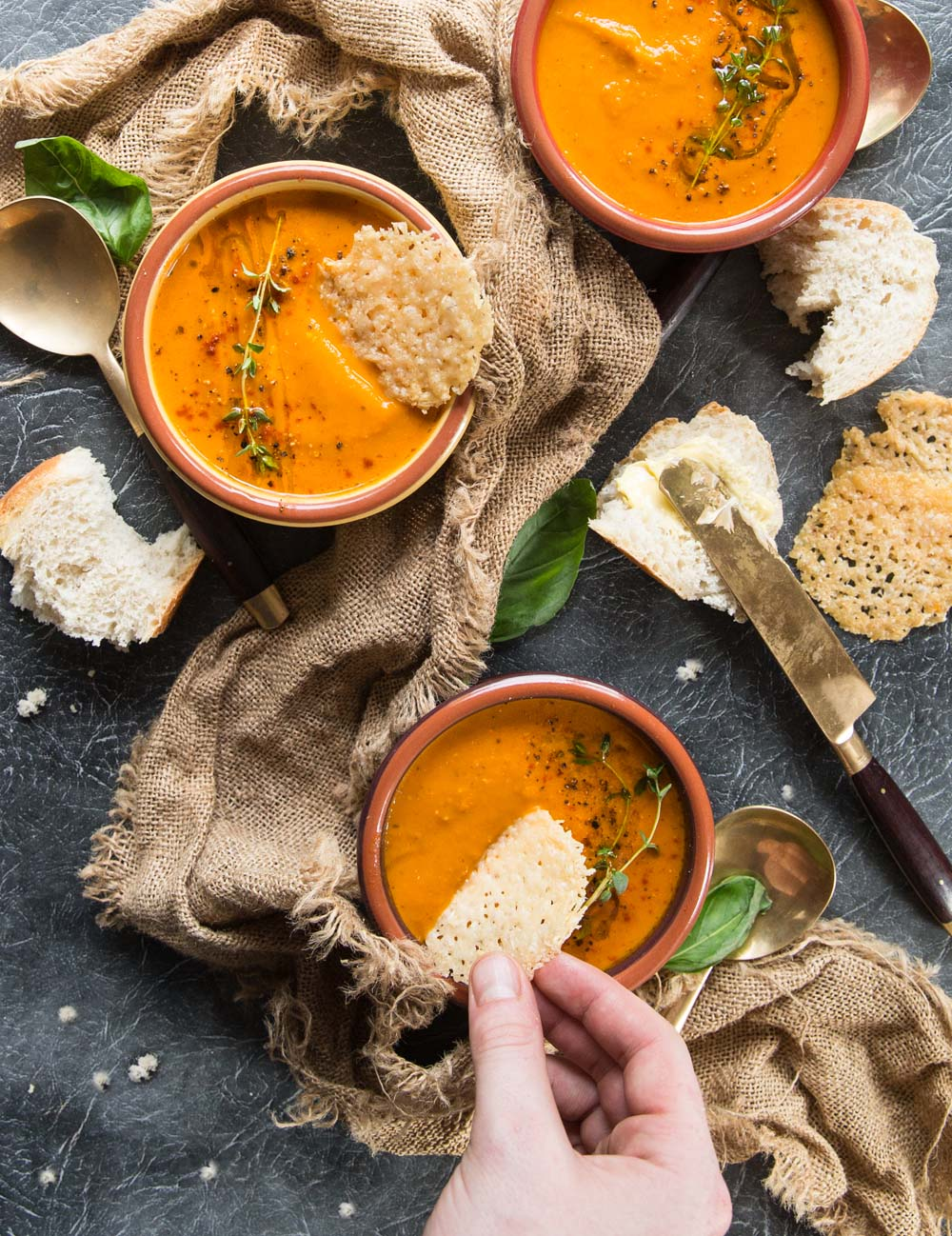 Roasted Tomato Soup with Fresh Tomatoes with Basil with parmesan crisps