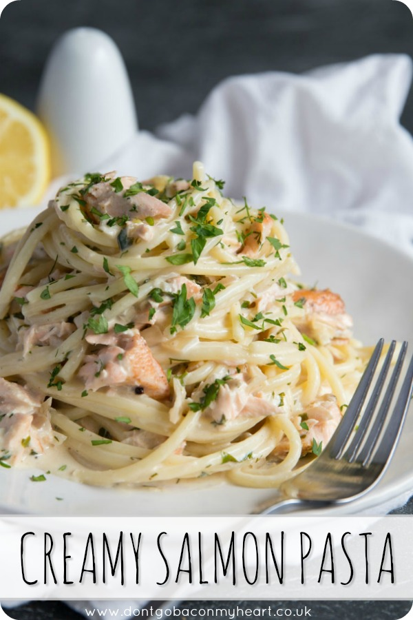 This Salmon Pasta couldn't easier to make! Served with a Creamy Dill Sauce, quick date night dinners have never been so delicious! #salmon #pasta #dinner   www.dontgobaconmyheart.co.uk