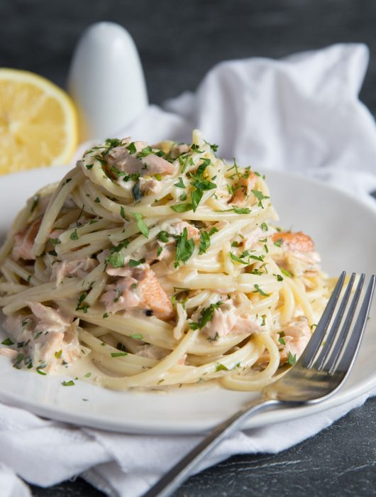 Salmon Pasta in a Creamy Dill Sauce with lemon and parsley