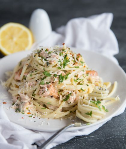 Salmon Pasta in a Creamy Dill Sauce with chilli flakes and parmesan