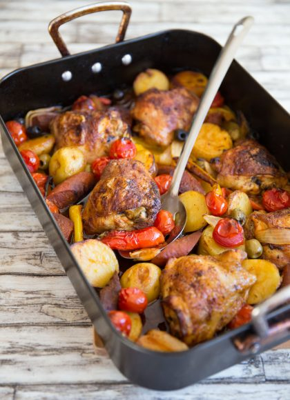 Spanish Chicken Tray Bake fresh out the oven