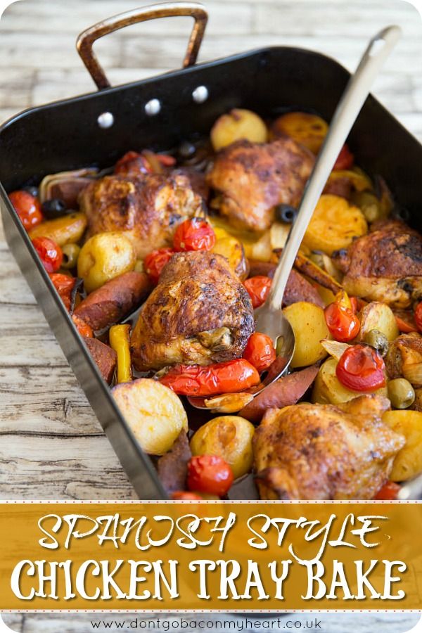This Spanish Chicken Tray Bake is the perfect no fuss dinner. Chuck it in the pan, leave it to roast & enjoy one of the most delicious and flavoursome dinners you've ever had! #spain #spanish #chicken #dinner | www.dontgobaconmyheart.co.uk