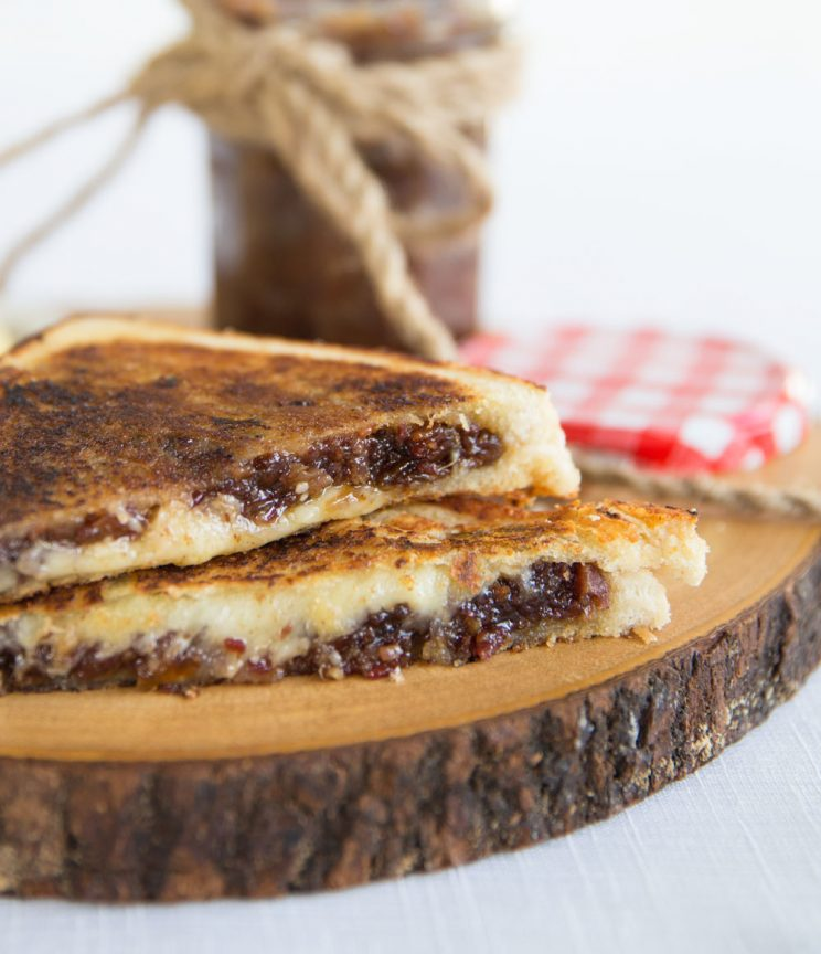 Bacon Jam Grilled Cheese with jar in the background