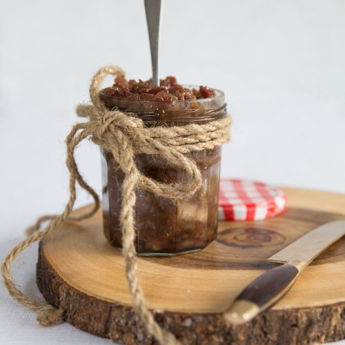 Canned Bacon Jam with the lid off