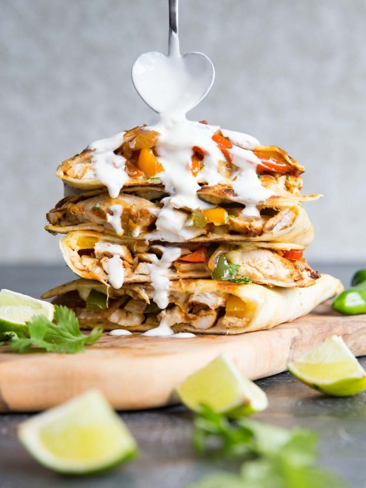 Chicken Quesadilla with sour cream