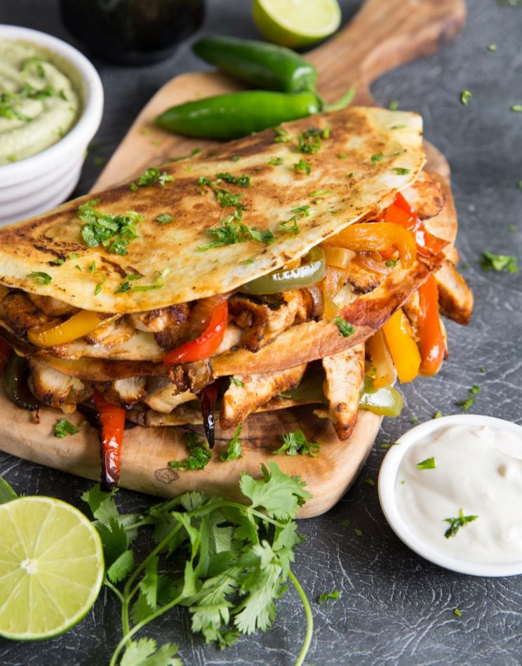 Best Chicken Quesadillas with coriander and jalapenos