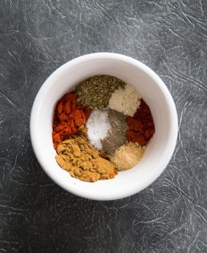 Homemade Fajita Seasoning in a mixing pot