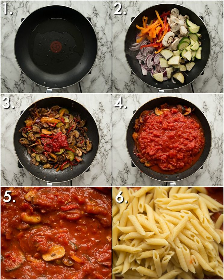 How to make a vegetable pasta bake - 6 step by step photos