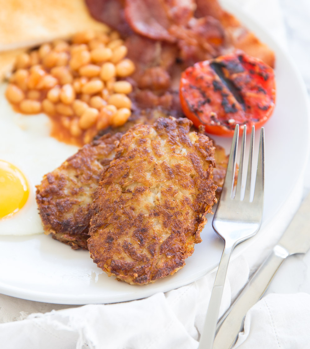 Perfect Homemade Hash brown Patties with full English breakfast