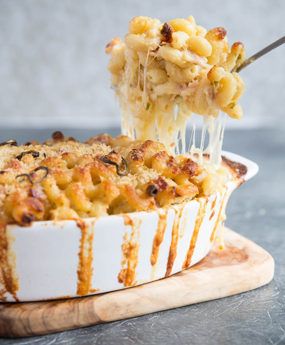 Spicy mac and cheese with bacon fresh out the oven