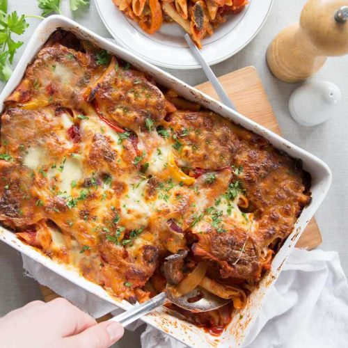 Cheesy Vegetable Pasta Bake -serving up