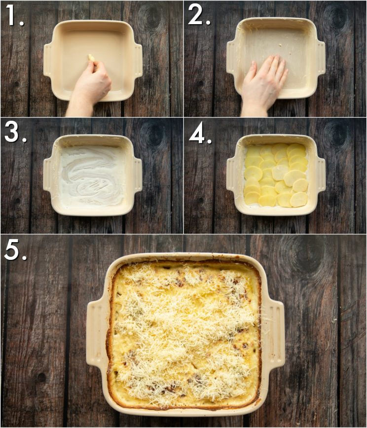 5 step by step photos showing how to make potato dauphinoise