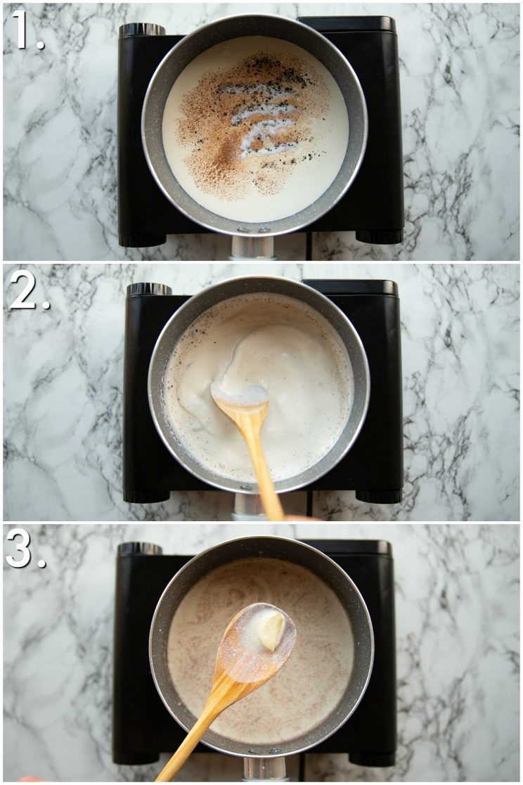 3 step by step photos showing how to make sauce for dauphinoise potatoes