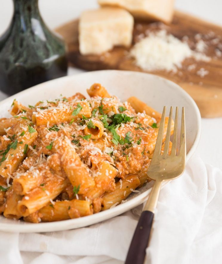 Sausage Pasta in a Sun Dried Tomato Mascarpone Sauce served with parmesan and parsley