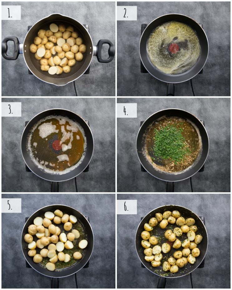How to boil baby potatoes with lemon browned butter sauce - step by step