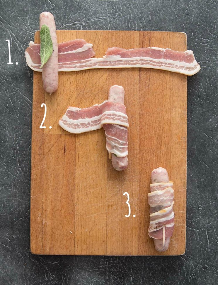 How to make pigs in blankets - step by step