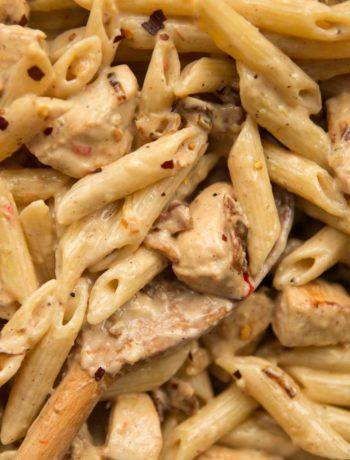overhead shot of chicken pasta in skillet