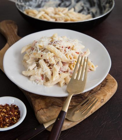 Leftover Roast Chicken and Bacon Pasta served with chilli flakes