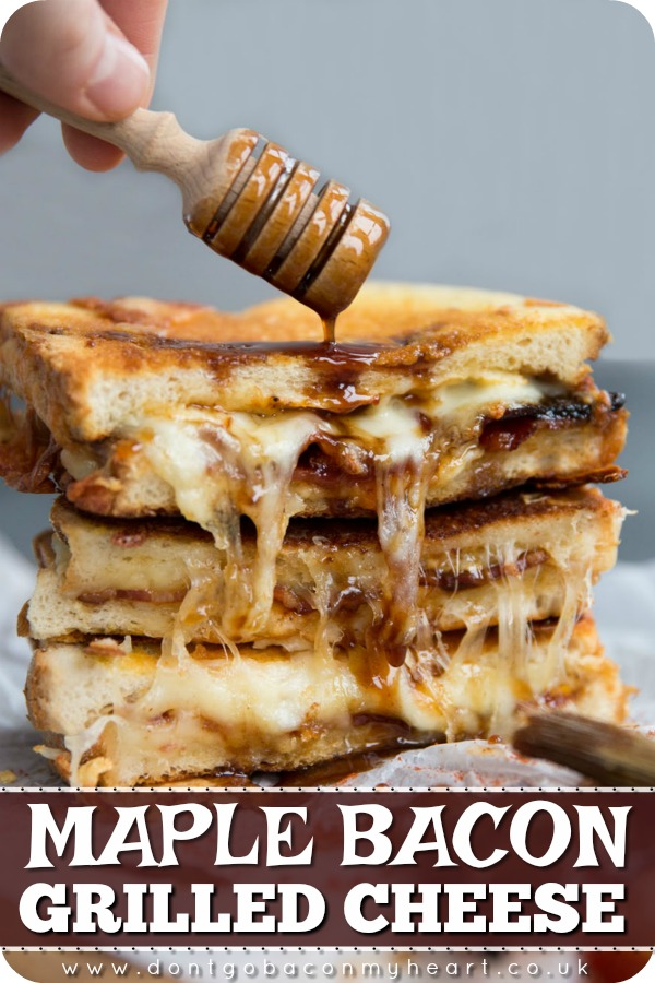 Take your grilled cheese game to the next level by adding maple bacon! Sweet, sticky, smokey and extra cheesy, this truly is the ultimate grilled cheese! #grilledcheese #cheese #maplebacon #bacon | www.dontgobaconmyheart.co.uk