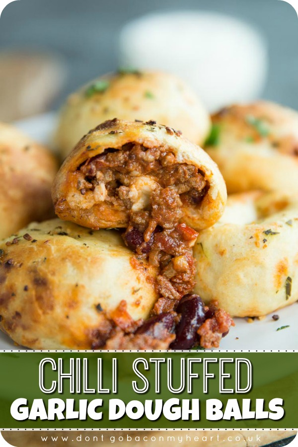 Looking for what to do with leftover Chilli? Look no further than these stuffed garlic dough balls! Easy cheesy finger food doesn't get more delicious than this! #chilli #chilliconcarne #doughballs #garlicdoughballs #fingerfood   www.dontgobaconmyheart.co.uk
