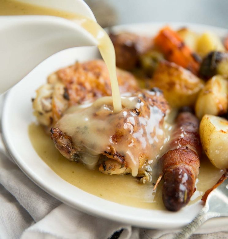One pan roast dinner with homemade gravy
