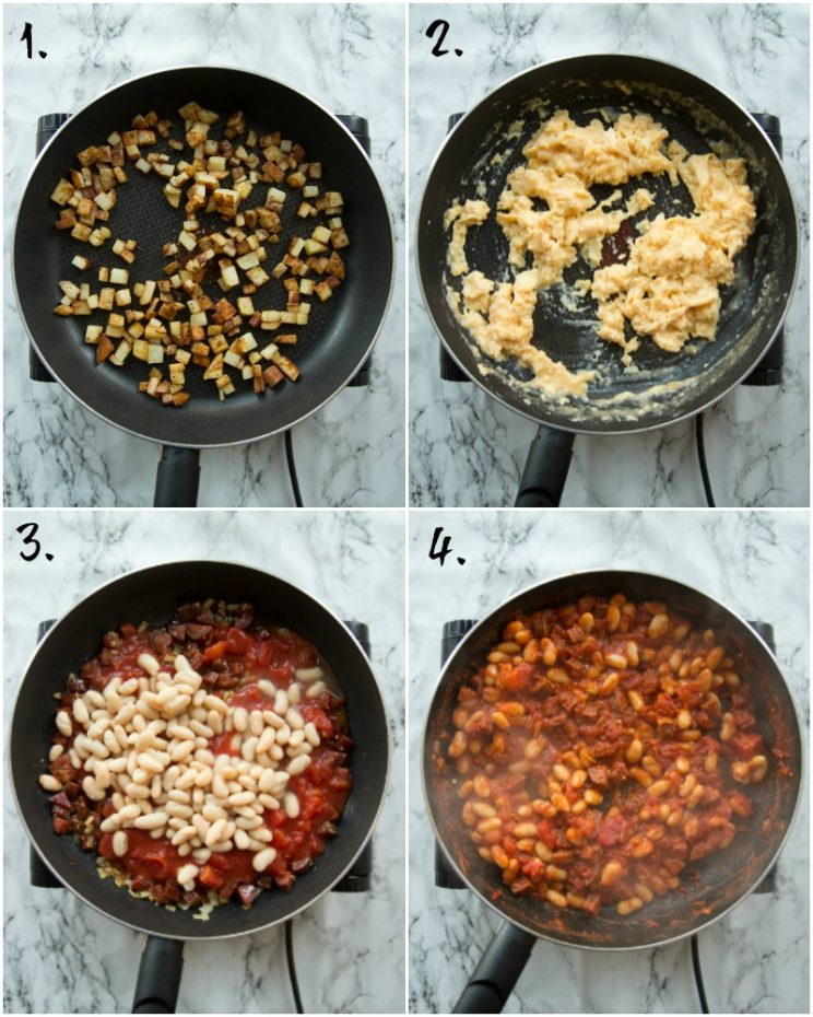 Step by step photo of breakfast burrito filling