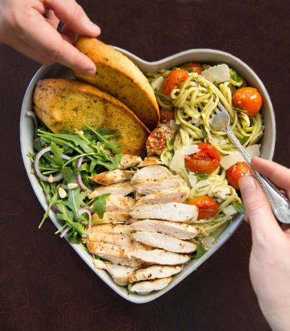 Chicken Avocado Pasta in a heart shaped bowl