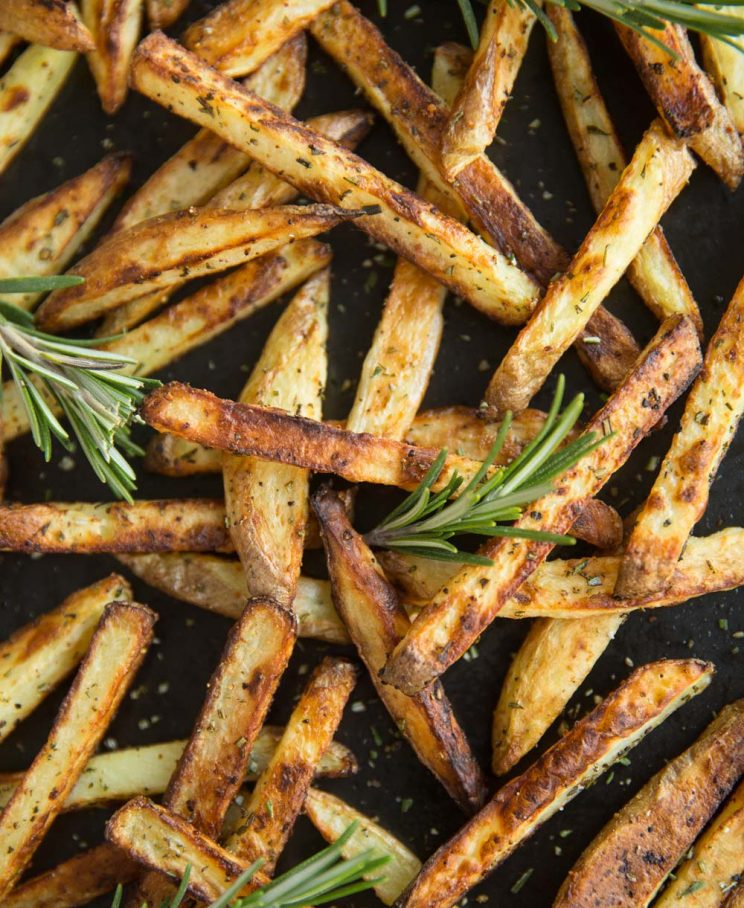 French Fries on Oven Tray with Rosemary